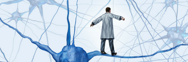 Healthcare professional balancing on neural nueron tightrope